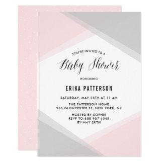 Carte Baby shower moderne de gradient abstrait de rose