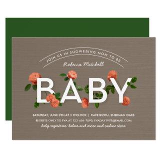 Carte Baby shower moderne de roses de typographie