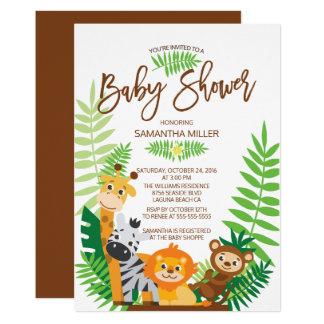 Carte Baby shower moderne de safari de jungle