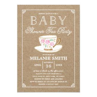 Carte Baby shower moderne rustique du thé |