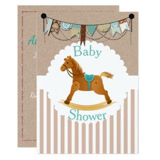 Carte Baby shower occidental rustique de cheval de