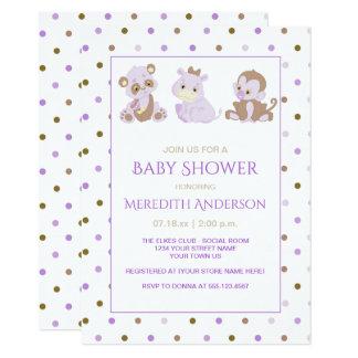 Carte Baby shower pourpre bronzage de pois de lavande