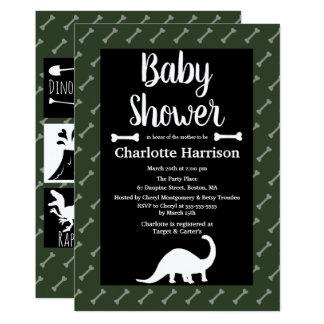Carte Baby shower préhistorique de dinosaures