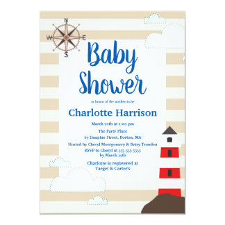 Carte Baby shower rayé rouge côtier de phare