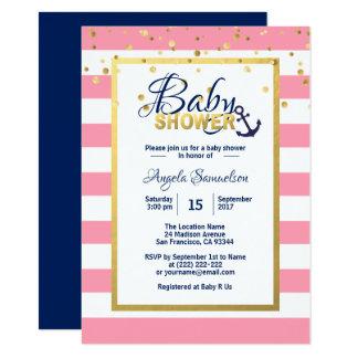Carte Baby shower rose blanc nautique de bleu marine