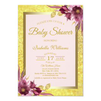 Carte Baby shower rose floral moderne d'or de Bourgogne
