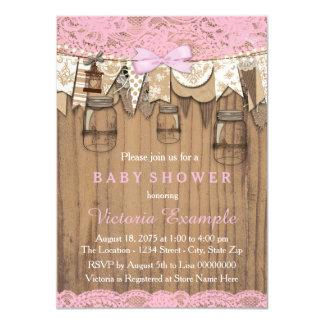 Carte Baby shower rustique de pot de maçon de dentelle