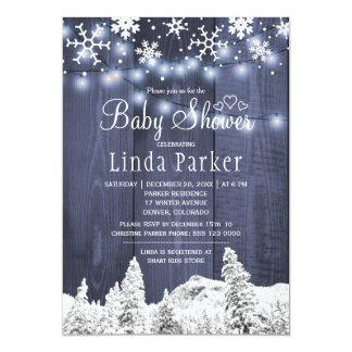Carte Baby shower rustique d'hiver du pays des