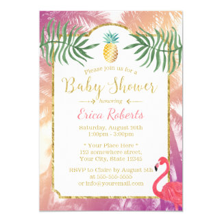 Carte Baby shower tropical d'ananas et de palmiers