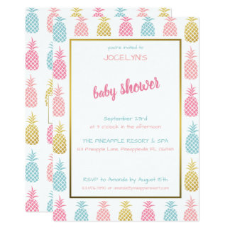 Carte Baby shower tropical moderne chic d'ananas