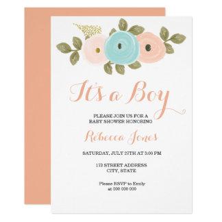 Carte Baby shower turquoise de pêche florale son