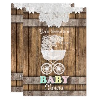 Carte Baby shower unisexe dans le bois et la dentelle