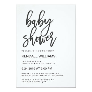 Carte Baby shower unisexe de typographie moderne