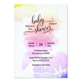 Carte Baby shower unisexe floral d'aquarelle colorée