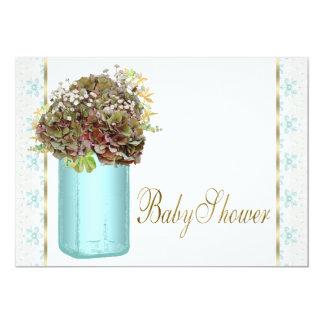 Carte Baby shower vintage de pot de maçon d'hortensia