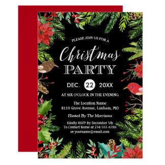 Carte Baies et pins rustiques du dîner de Noël |