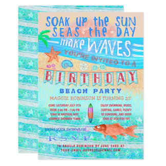 Carte Bain de surf de poissons d'été de plage ou de