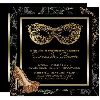 Carte Bal costumé noir d'or de la partie | de mascarade