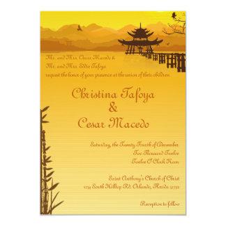 Carte bambou chaud d'Oriental de coucher du soleil du