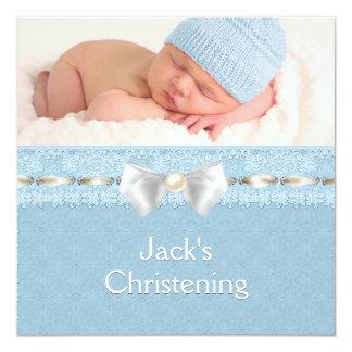 Carte Baptême bleu de photo d'oeillet de garçons ens