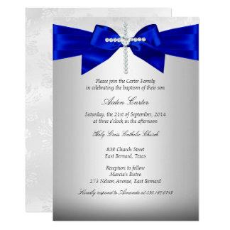 Carte Baptême croisé argenté blanc de bleu royal