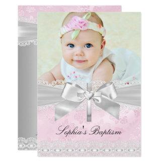 Carte Baptême croisé argenté rose de photo d'arc de