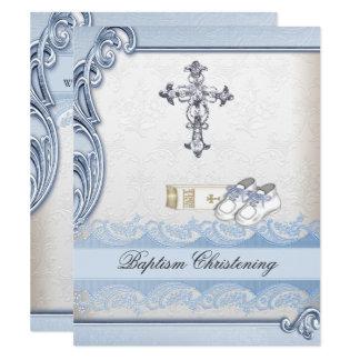 Carte Baptême croisé blanc bleu de damassé de garçon de