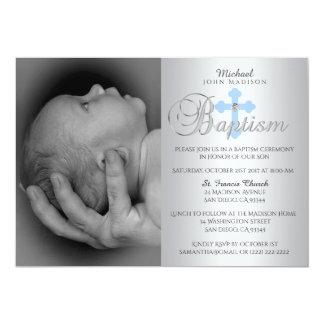 Carte Baptême croisé bleu argenté magnifique de PHOTO de