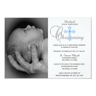 Carte Baptême croisé bleu blanc magnifique de PHOTO de