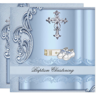 Carte Baptême croisé bleu de damassé de garçon de