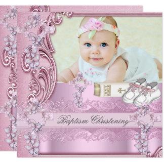 Carte Baptême croisé rose de photo de fille de baptême
