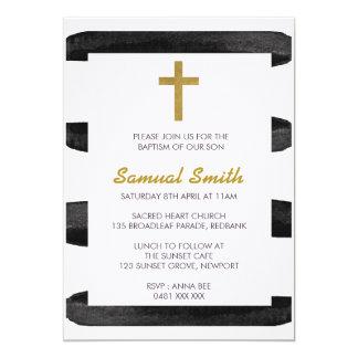 Carte Baptême d'or blanc/invitation noirs de baptême