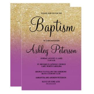 Carte Baptême pourpre d'ombre d'orchidée de