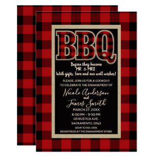 Carte Barbecue rouge rustique de BBQ de plaid de Buffalo