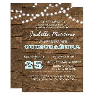 Carte Barnwood allume l'invitation de Quinceañera d'Aqua