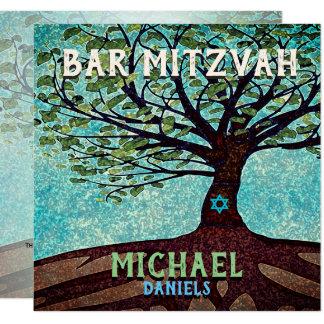 Carte Barre arbre de Mitzvah de la vie bleu et vert