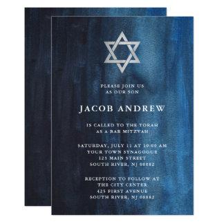 Carte Barre bleu-foncé Mitzvah de regard d'aquarelle