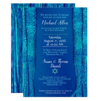 Carte Barre bleue Mitzvah de châle de prière