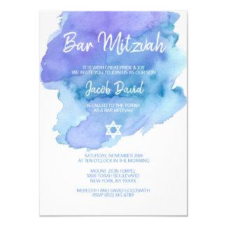 Carte BARRE bleue moderne MITZVAH d'étoile de David