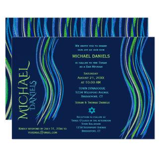 Carte Barre châle bleu et vert de Mitzvah de prière