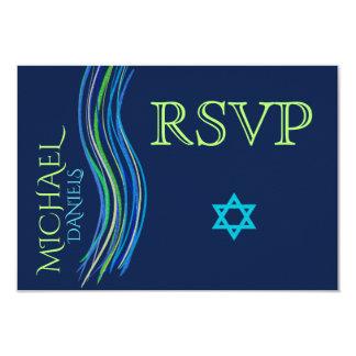 Carte Barre châle bleu et vert RSVP de Mitzvah de prière