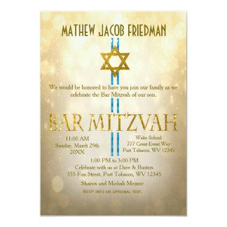 Carte Barre Mitzvah de Bokeh | d'or
