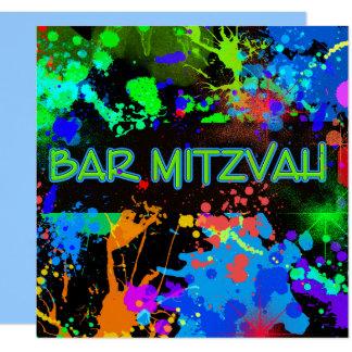 Carte Barre Mitzvah, éclaboussure de peinture,