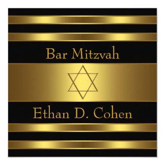Carte Barre noire Mitzvah d'étoile de David d'or