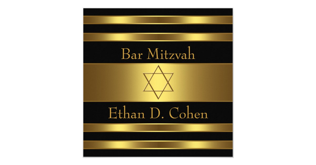 carte barre noire mitzvah d 39 toile de david d 39 or. Black Bedroom Furniture Sets. Home Design Ideas