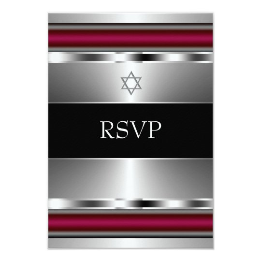 carte barre rouge noire mitzvah rsvp d 39 toile de david. Black Bedroom Furniture Sets. Home Design Ideas