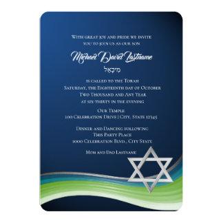 Carte Barre verte et bleue Mitzvah d'étoile de David de