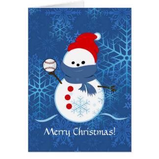 Carte - base-ball de bonhomme de neige