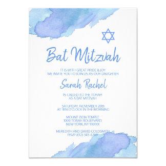 Carte BAT MITZVAH bleu moderne d'étoile de David