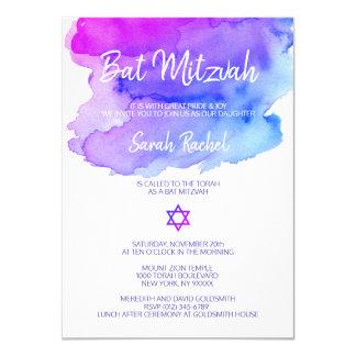 Carte Bat mitzvah bleu pourpre personnalisé d'aquarelle